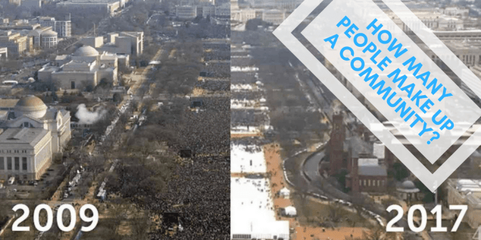 Image comparing crowd size at Trump inaguration and Obama inaguration