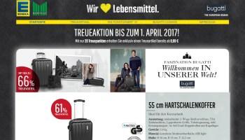 kaufland treueaktion 2016 mit taschen und koffern von bugatti - die