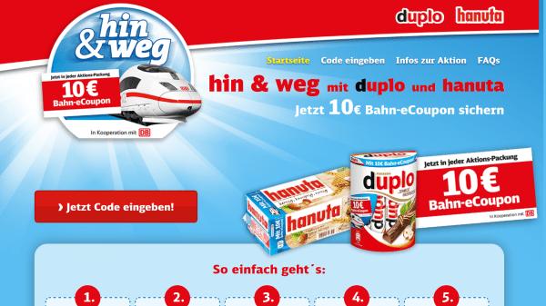 Bahn Gutschein Duplo Hanuta