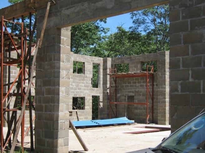 East wall with mezzanine door opening