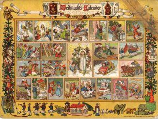 Adventskalender Im Lande des Christkinds. Die Fenster enthielten weihnachtliche Verse und konnten mit Bildern aus einem Ausschneidebogen überklebt werden. Vollständig überklebtes Exemplar. Erschienen bei Gerhard Lang in München.
