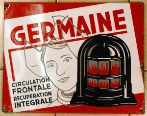 Germaine heizt ein! Emailleplakat um 1950/55