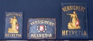 HELVETIA - Drei Blechschilder (um 1880 -1895)