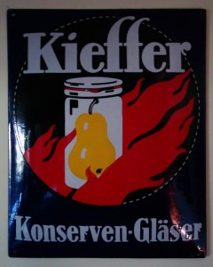 KIEFFER Konserven-Gläser, Emailleschild um 1925