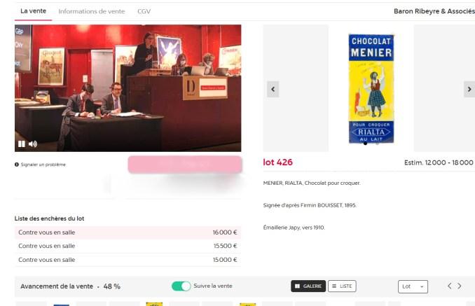 Zuschlag bei 16.000€: Dieses Menier-Mädchen fand am Dienstag in Paris einen neuen Liebhaber. (Screenshot: www.drouotonline.com)