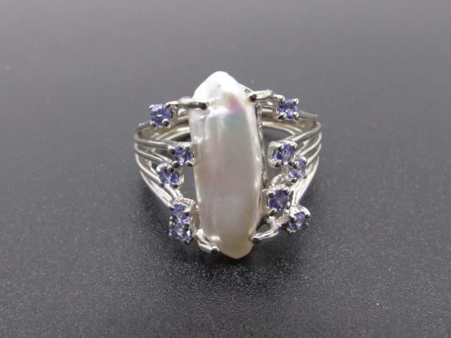 Damen Silberring 925 Silber mit Barock Perle  Tansaniten  sofort im Onlineshop kaufen