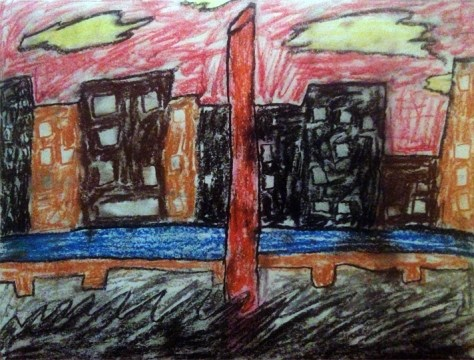 """Kicking Dirt""     8/22/12 Oil pastels on scrap paper 9x12"""