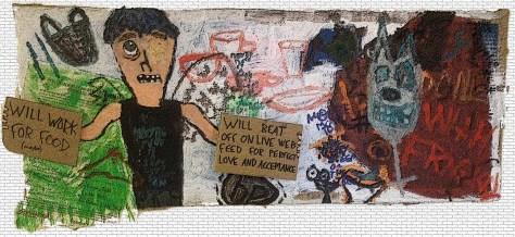 """Beachtown Graffiti."" Mixed media. 33x13""."