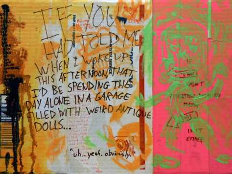 """It Smells Like Pee Because I Peed On It b/w How I Feel About My Life Right Now + Doll Garage."" 3/14/13. Acrylic, watercolor, resin sand, duct tape, marker, colored pencil, fabric dye, coffee, and urine on flat-rate USPS priority mailing box. 12x16""."