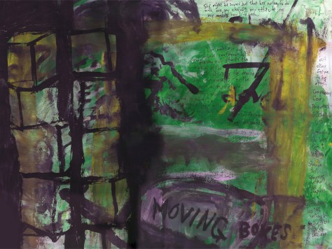 """Moving Boxes (and Little Else)."" 5/24/13. Tempera and pen on paper. 12x16""."