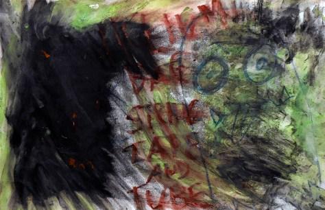 """Perfect Love / Exit Bag."" 10/31/12. Tempera, colored pencil, oil pastel. 12x18""."