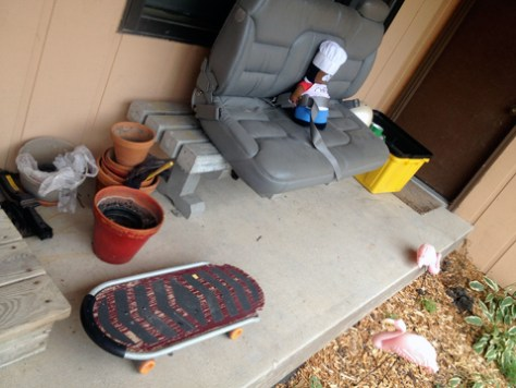 Lipstick Homicide's front porch. I just really like that skateboard.