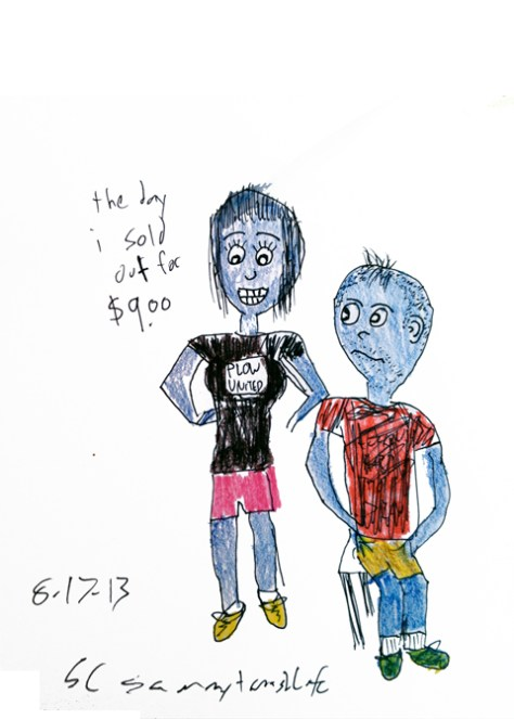 """The Day I Sold Out For Nine Dollars."" 8/17/13. Pen and (dry) watercolor pencil. 5x7""."