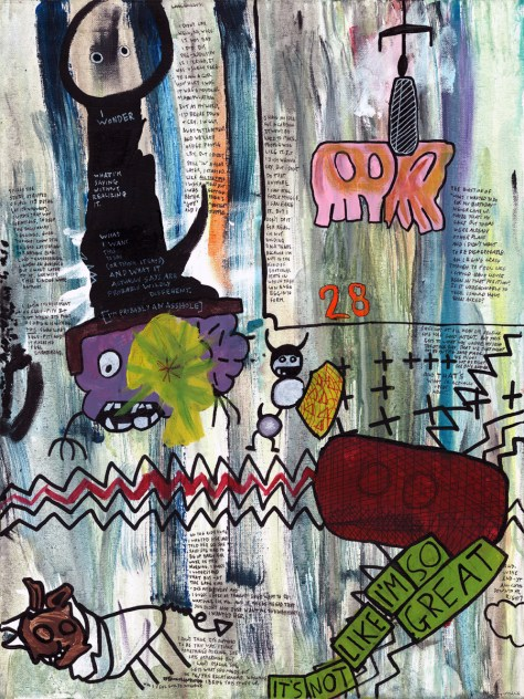 """""""28"""" 11/5/13. Acrylic pain, food coloring, ink. 18x24"""" stretched canvas."""