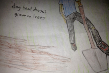 """Dog Food Doesn't Grow on Trees."" 12/8/12. Colored pencil. 3x2""."