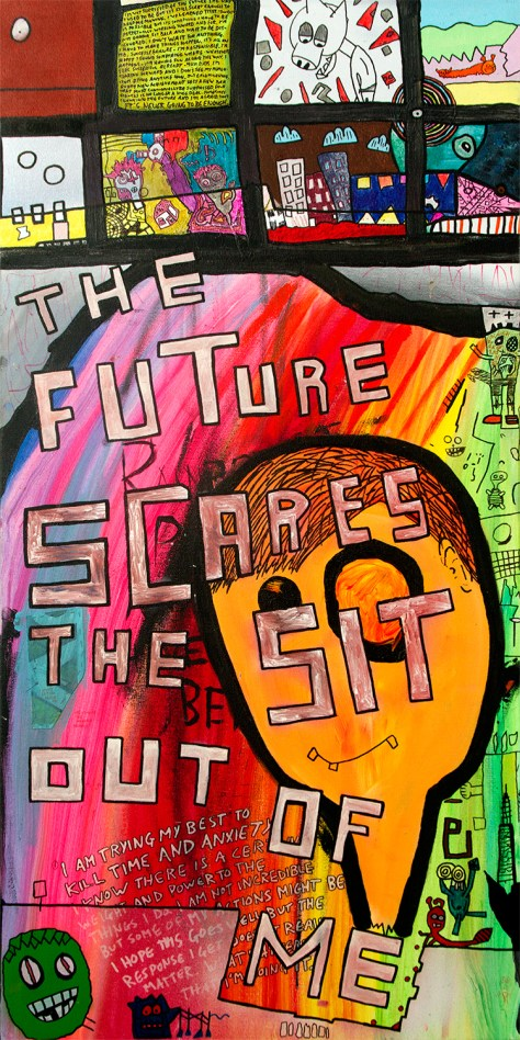 """The Future (Scares the Sit Out of Me)."" 4/1/14. Acrylic and spray paints, with ink. 24x48""."