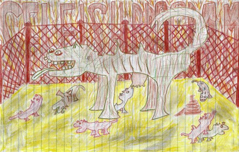 """Selfish Program."" 11/29/12. Colored pencil. 7x11""."