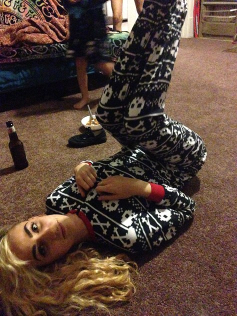 Wallis being adorable as fuck in her onesie / footed pajamas (the best money I've ever spent).