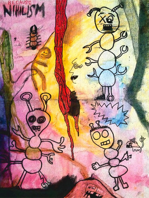 """""""Because Nihilism."""" 4/22/13. Watercolor and acrylic paints, charcoal, and ink. 12x16""""."""