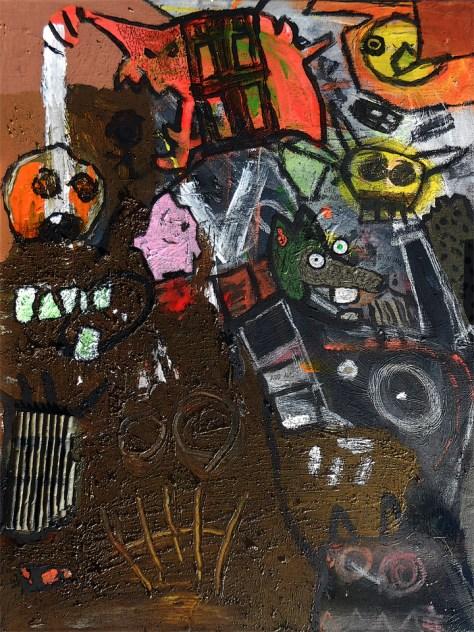 """Beyond the Pink Cloud."" 12/8/13. Acrylic paint, oil pastels, ink. 18x24""."