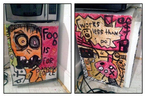 """Calvin Mather's Refrigerator."" 7/13/13. Acrylic paint on a broken mini-fridge."