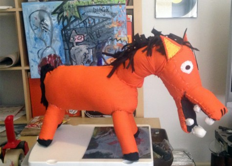 """""""Gift Horse."""" 9/1/13. Fabric, thread, pillow stuffing. 13x21"""" (height and length)."""