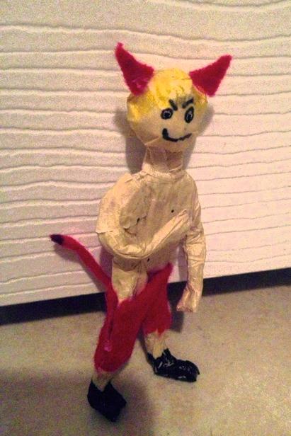 """""""Little Sam (Little Devil)."""" 11/7/12. Tin foil, masking tape, felt, marker, glue. 4"""" (tall)."""