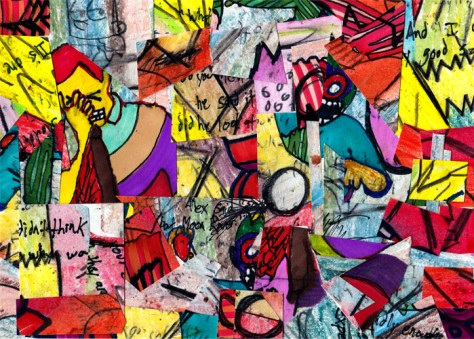 """Pizza Hates Me."" 9/8/13. Crayon, colored pencil, marker, pen, collage. 5x7""."