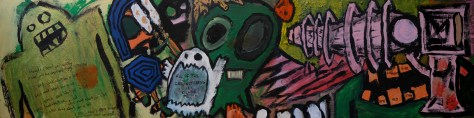 """Raygun Youth."" 8/3/13. Acrylic paint and ink on wood panel. 24x6""."