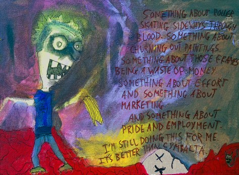 """""""Roller Skating Sideways Through Blood."""" 4/6/13. Acrylics and pen on stretched canvas. 12x16""""."""