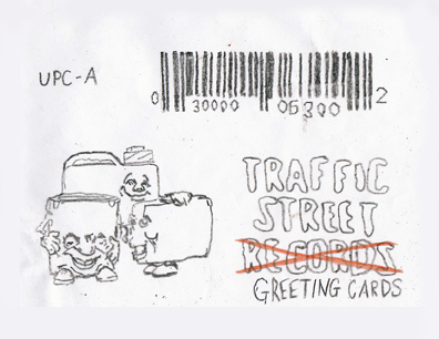 For the backs of the cards, I traced the Traffic Street logo (with one modification) and the barcode from a box of Cap'n Crunch.