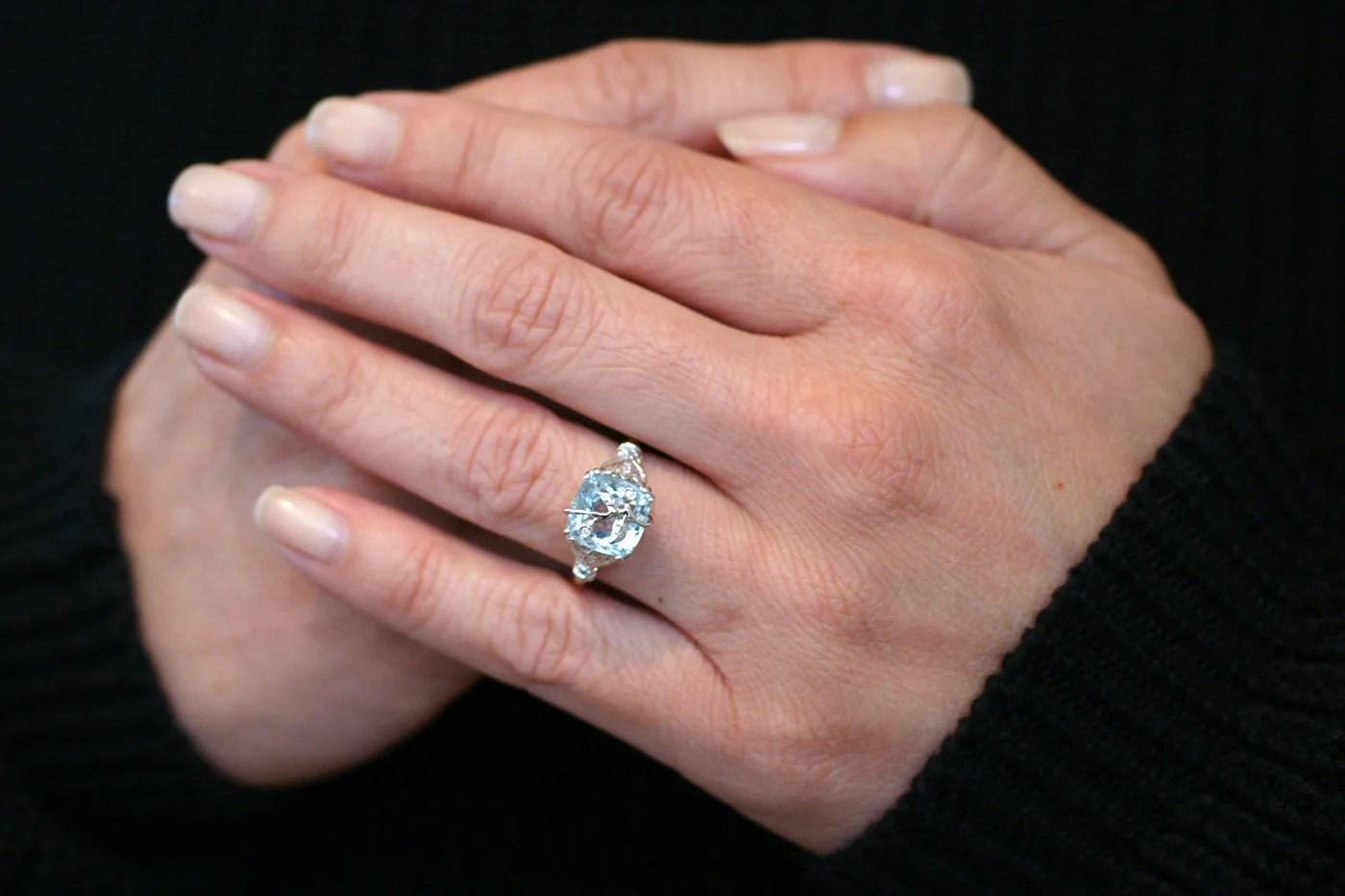 Aquamarine Leaf And Vine Design Diamond Engagement Ring