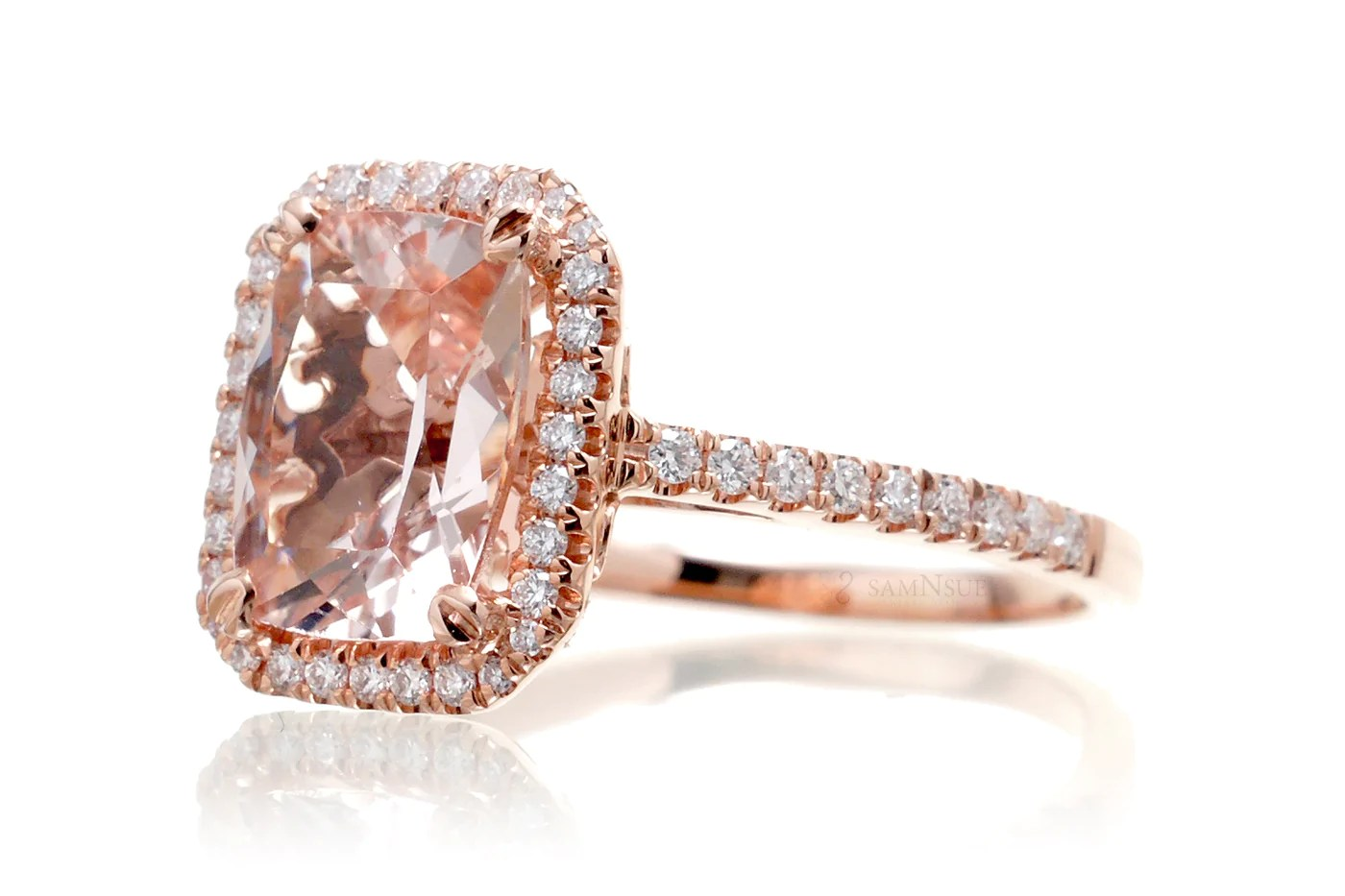 Morganite 11x9 Cushion Halo Diamond Solitaire Engagement
