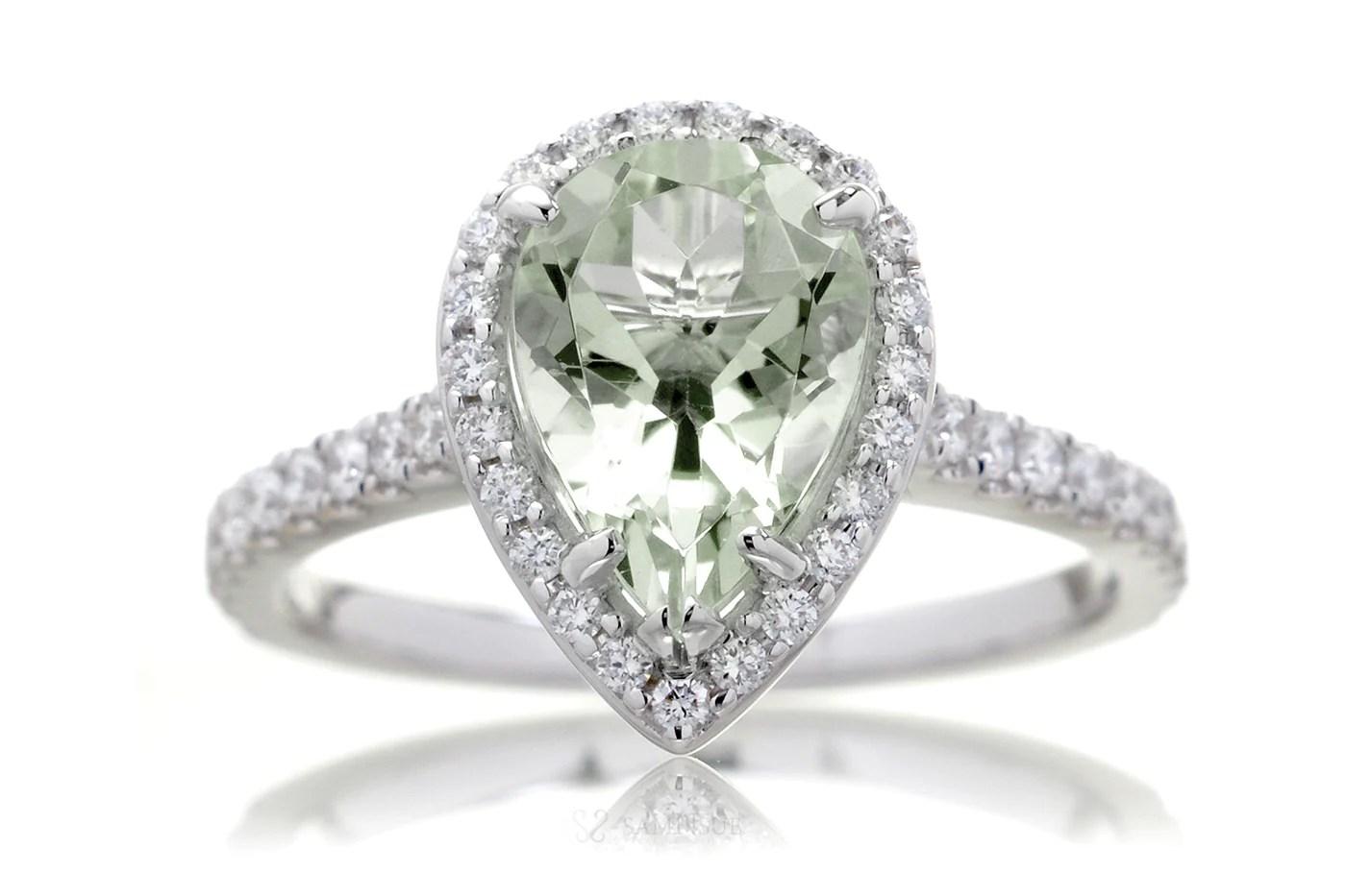 Green Quartz Prasiolite Engagement Ring Pear 10x7 Cut