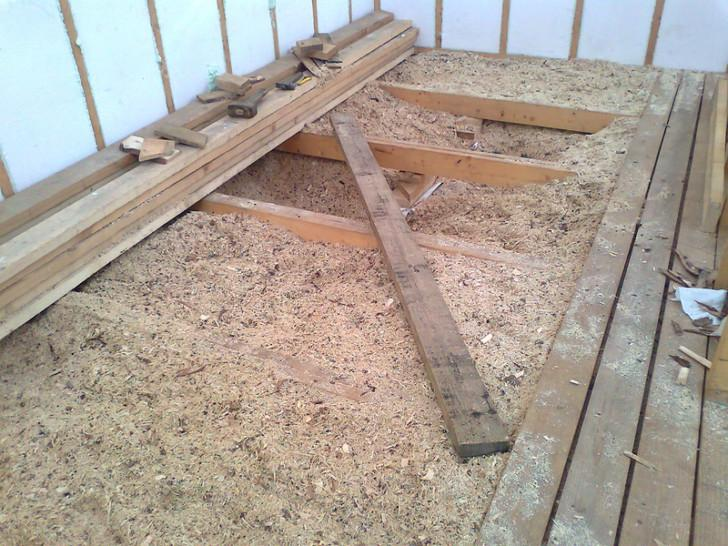 Floor insulation sawdust
