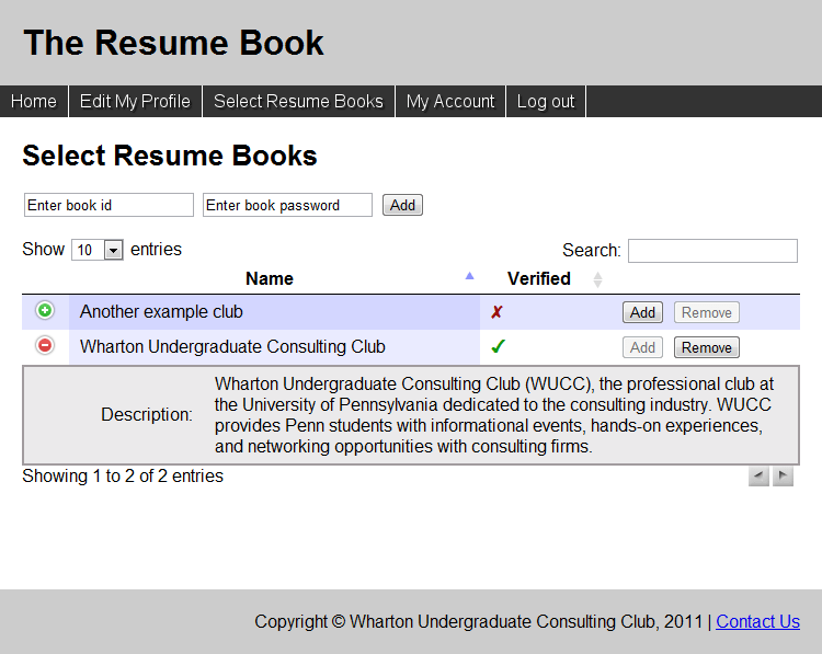 once the resume is uploaded students have the ability to select resume books to apply to