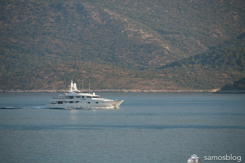 Yacht in the strait between Samos and Tyrkey