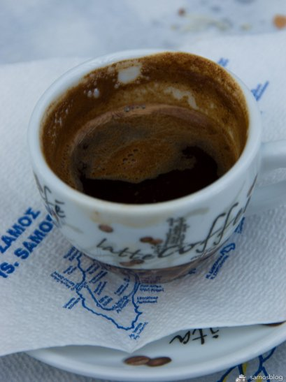 Greek coffee, Blue chairs, Vourliotes