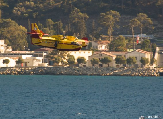 Firebomber in Samos bay