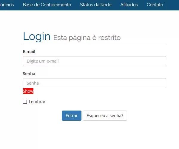 Login de acesso para a área de cliente da Sampa Hosting