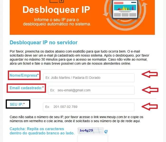 Desbloqueando o ip no sistema