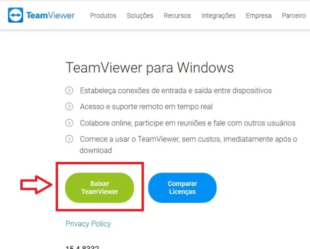 Botão de download do teamviewer