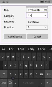 Auto suggest on Windows Phone