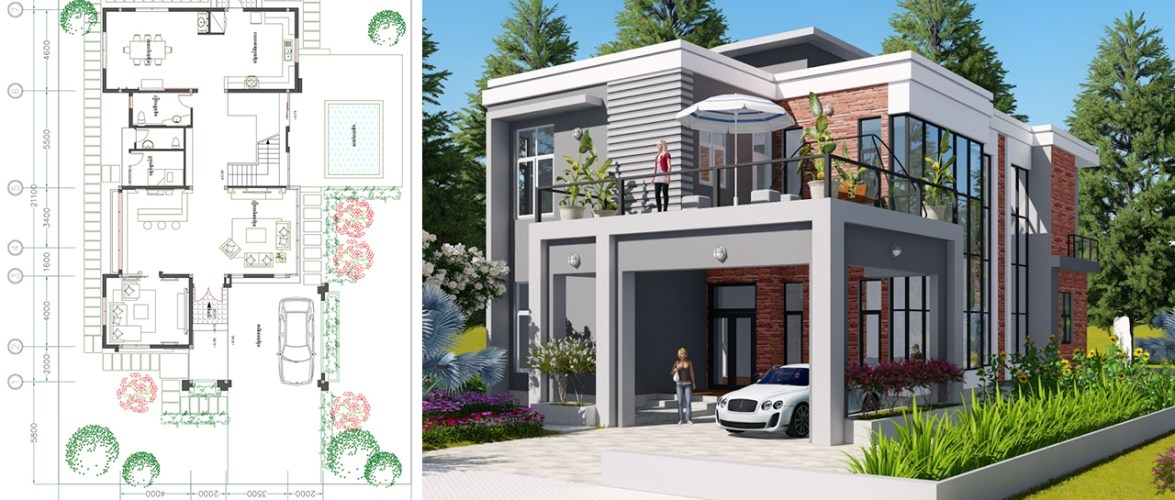 3 Bedroom Modern Villa design Size 11.5×21.1m