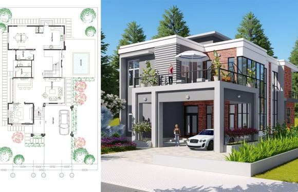 3 Bedroom Modern Villa design Size 11.5×21.1m