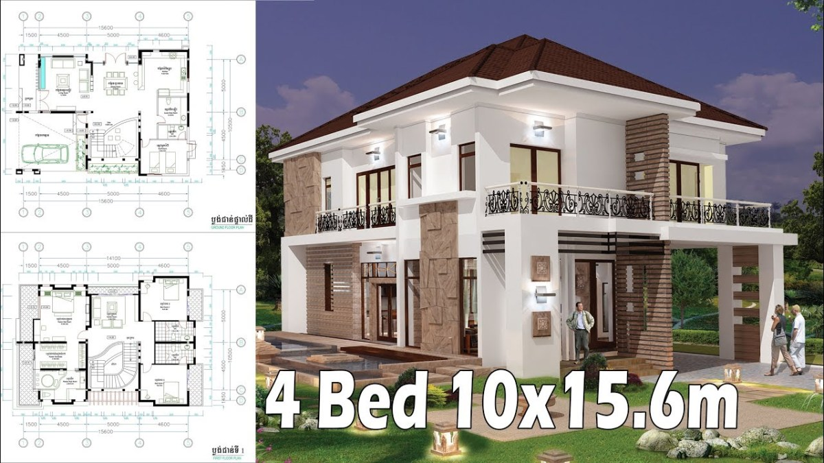 4 Bedroom Home Plan Full Exterior and Interior 10x15.6m