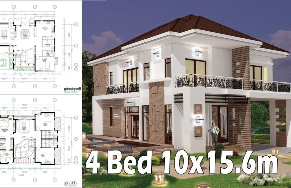 4 Bedroom Home Plan Full Exterior and Interior 10×15.6m