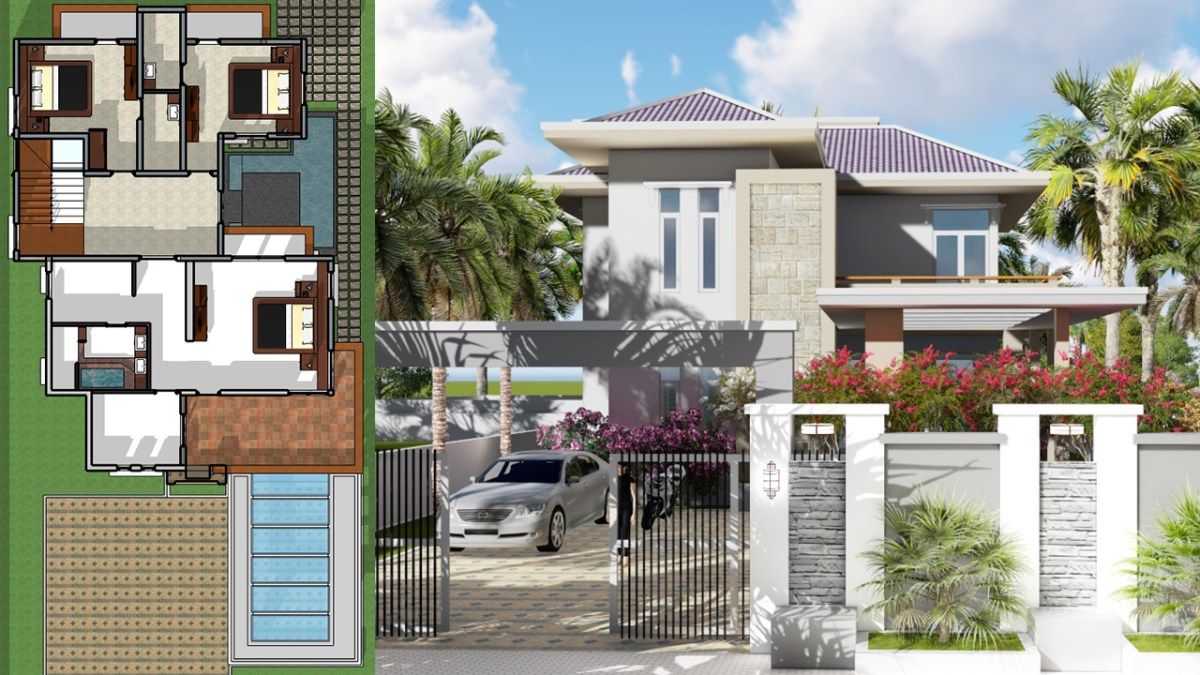 4 Bedrooms Modern Villa Design 12x16m