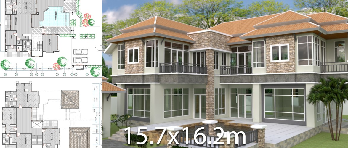 4 Bedroom House Size 15,7×16,2m