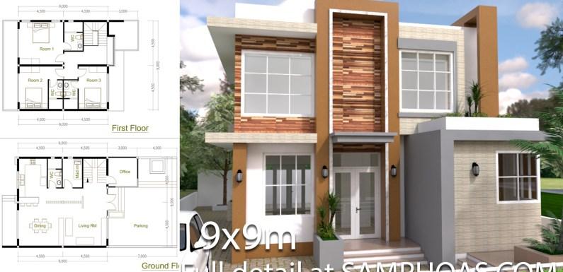 4 Bedrooms Home Design Plan 9x9m